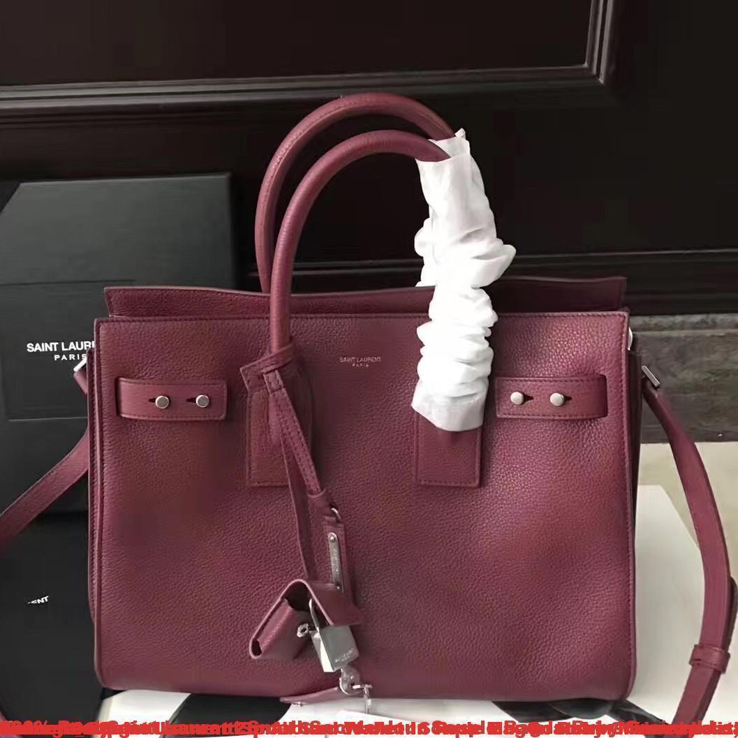 c524fabb7c2 100% Real Saint Laurent Small Sac de Jour Souple Bag In Ruby Grained Leather  ...