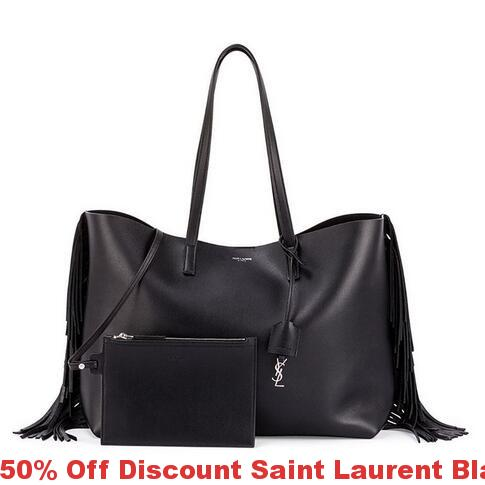 fafb29d0e46 50% Off Discount Saint Laurent Black Fringed Shopping Tote Bag ...