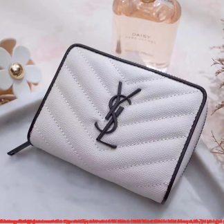 12efd11822d7 ... replica - 2454 £179.74  Cheap Saint Laurent Compact Zip Around Wallet  In White Calfskin Mesa