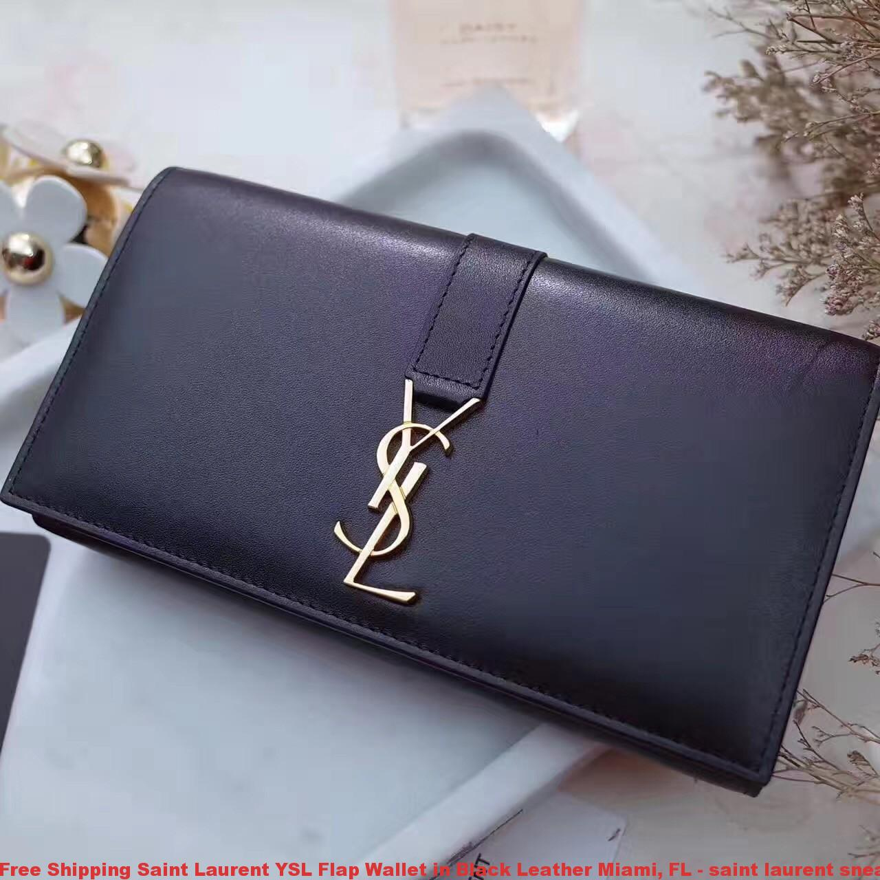 Free Shipping Saint Laurent Ysl Flap Wallet In Black
