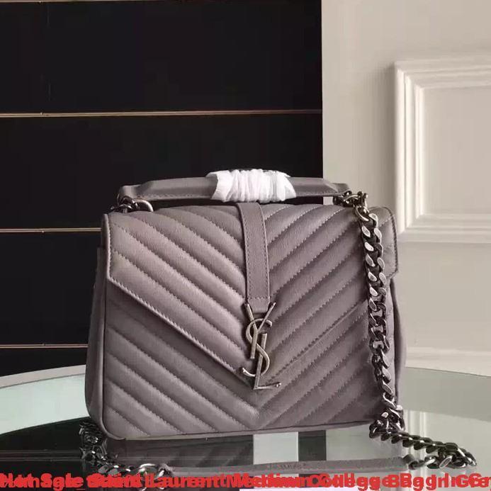 Hot Sale Saint Laurent Medium College Bag In Grey Goatskin