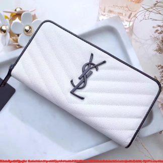 10668ab985b ... The Best Deals Saint Laurent Zip Around Wallet In White Grained Leather  Detroit, MI - saint laurent tote bag uk - 1222 ...