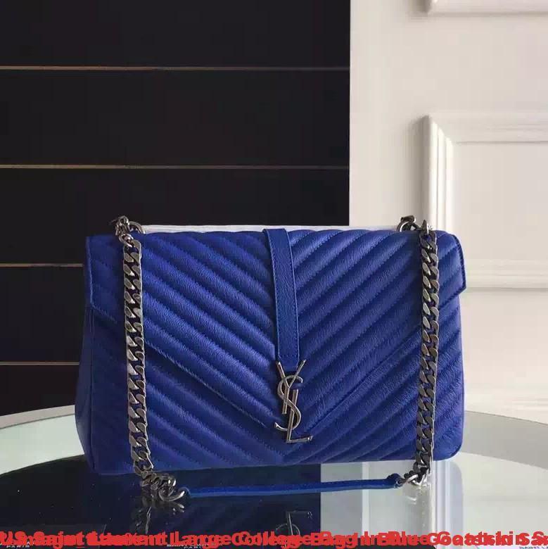 Us Saint Laurent Large College Bag In Blue Goatskin San